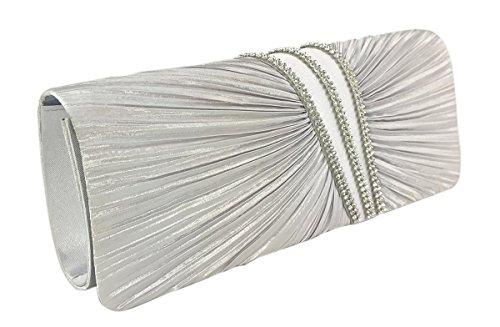 Satin Evening Clutch - AITING Womens Satin Diamante Pleated Evening Clutch Bag Bridal Handbag Prom Purse (Silver-1)