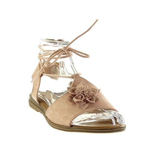 Gladiator Block Sandals Shoes Women's Cm 2 Fashion Heel Angkorly Open Fiori Rosa Tanga 1BIqRww