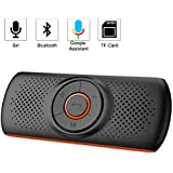 Aigoss Handsfree Bluetooth for Cell Phone, Car Bluetooth Speakerphone with Siri and Google Assistant, Wireless Car Kit Music Speaker Supports 2 Phones Connection Simultaneously