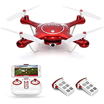 Syma X5UW Wifi FPV Drone with 720P HD Camera Live Video, Barometer Set Height, H/L Speed, Extra Battery RTF RC Quadcopter