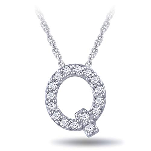 Vibgyor Designs 925 Sterling Silver 1/20 Carat Round-Cut (I-J Color, I2-I3 Clarity) Natural Diamond Initial Pendant Necklace for Women ()