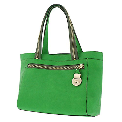 Melie Bianco Julianne Tote Bag with Zipper Strap Detailing (Lime Green) (Melie Bianco Handbag Tote)