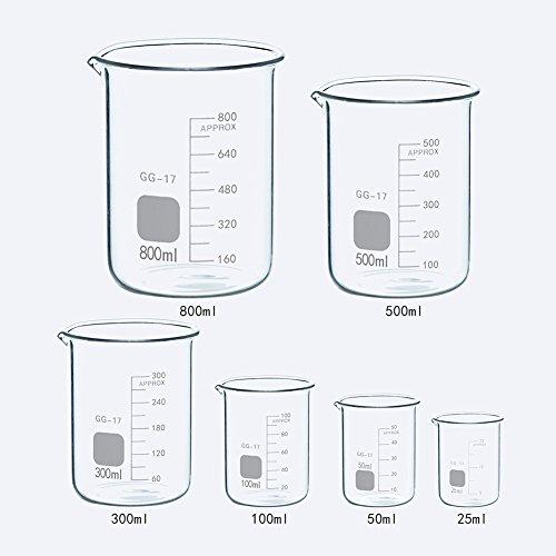 6 PCS Glass Graduated Measuring Low Form Beakers Set 25ml 50ml 100ml 300ml 500ML 800ML by Burry Life Science