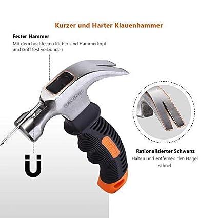 geeignet f/ür Reparatur TACKLIFE Mini Hammer-HMH2A,ergonomischer Griff mit weichem Gummi,mit magnetischem und rutschfestem Kopf Holzarbeit Hammer DIY