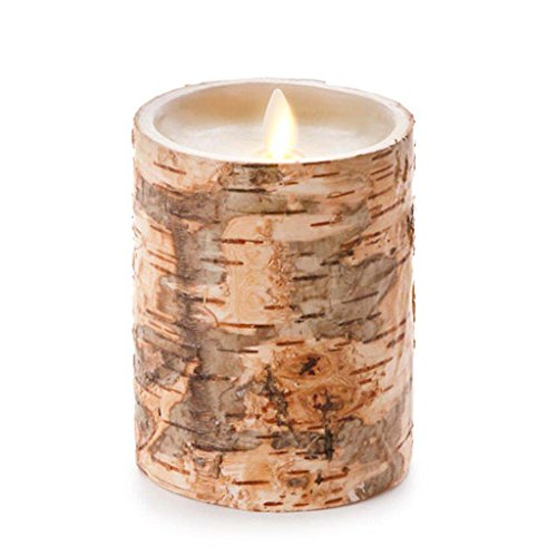 Luminara Unscented Flameless Pillar Candle Embedded with Birch 4 x 5 inches by Luminara