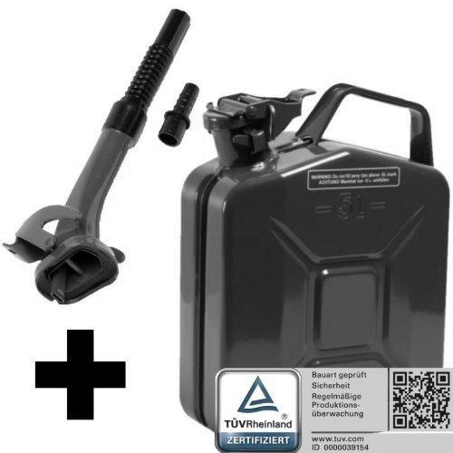 Oxid7 Benzinkanister Kraftstoffkanister Metall 5 Liter schwarz mit UN-Zulassung inkl. Ausgießer - TÜV Rheinland Zertifiziert - Bauart geprüft - für Benzin und Diesel