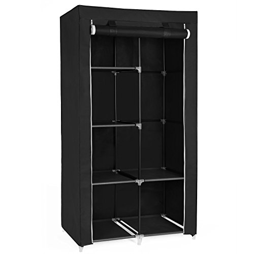 "SONGMICS 34"" DIY Closet Organizer Portable Wardrobe with Non-Woven Fabric, Multiple Ways to Assemble Meets Different Needs, Black URYG84BK"
