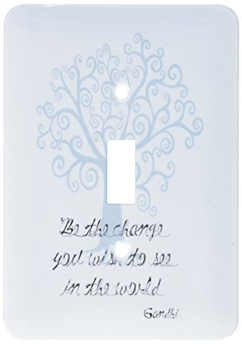 Wish Light Switch Covers (3dRose lsp_164656_1 Be The Change You Wish to See Blue Tree Gandhi Quote Light Switch Cover)