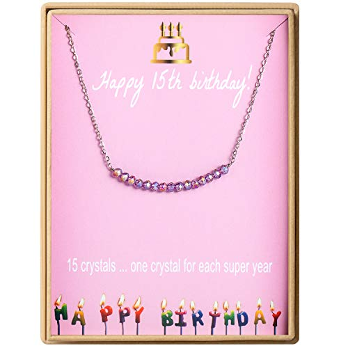 Birthday Gifts for Girls Sterling Silver Gem Stone Bar Necklace Birthday Gifts for Sisters 15 Year Old Girl
