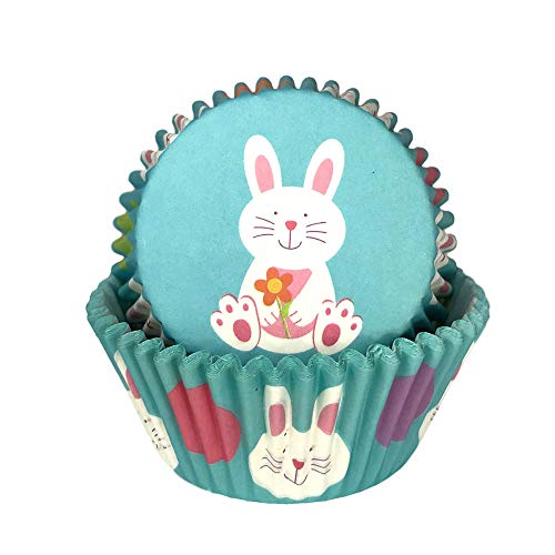 Easter Holiday Easter Bunny Rabbit Print Baking Cup Cupcake Liners Party Supply Decoration - 50 Pack -