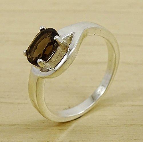 Banithani925 argent massif fumé pierre topaze design élégant anneau bijoux