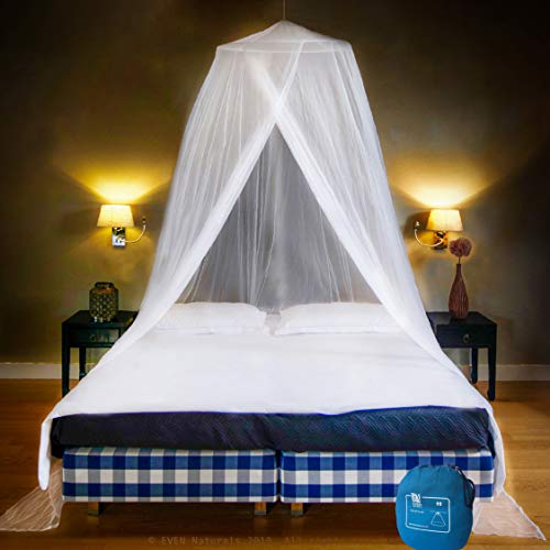 EVEN NATURALS Luxury Bed Canopy Mosquito Net, Large: for Single to King Size, Quick Easy Installation, Fine Holes: Mesh 380, Curtain Netting, 2 Entries, Storage Bag, No Chemicals Added