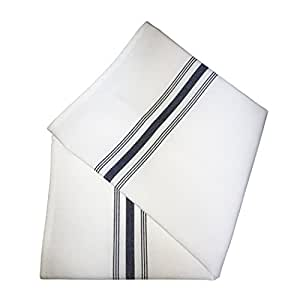 Ultimate Textile (10 Dozen) Bistro Napkins 18 x 22 Inch - Restaurant Quality Cloth, Navy Stripe