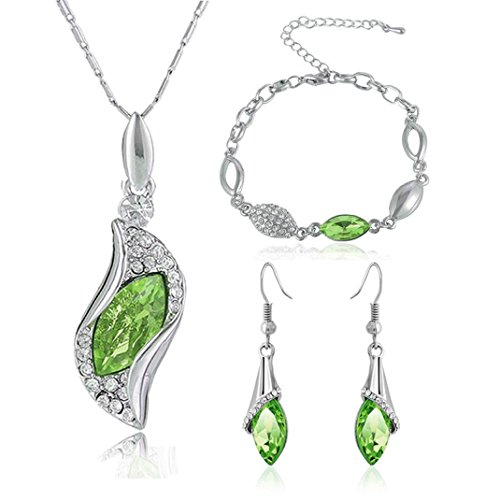 Vibola Fashion Style Jewelry Set Crystal Chic Eyes Drop Earrings Necklace Bracelet DIY (green)
