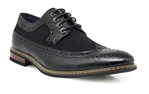 Titan02 Men's Colonial Spectator Two Tone Grand Wingtips Oxfords Perforated Lace Up Dress Shoes (10, Black) (1920s Mens Shoes)