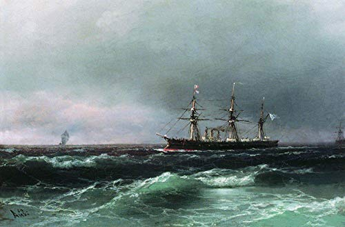 $50-$2000 Hand Painted Art Paintings by College Teachers - Ship at sea 1870 Romantic Ivan Aivazovsky Russian Oil Painting for Wall Art Decor -Size 03