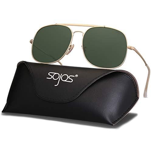 SOJOS Classic Aviator Polarized Square Sunglasses for Men and Women Mirrored Lens COLONEL SJ1107 with Gold Frame/G15 Polarized ()