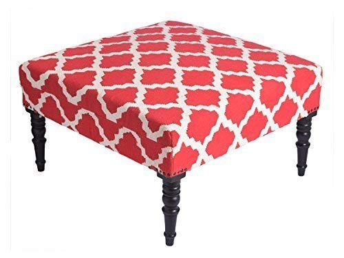 storeindya Ottoman Traditional Square Tea Coffee Table Upholstered Cotton Red White Removable Legs Handmade Home Furniture Decor