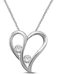 "<span class=""a-offscreen"">[Sponsored]</span>Sterling Silver Diamond 1/5 cttw 2 Stone Heart Pendant Necklace"