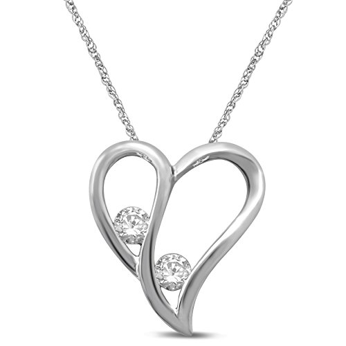 Diamond Jewel Sterling Silver Diamond 1/5 cttw 2 Stone Heart Pendant Necklace by Diamond Jewel