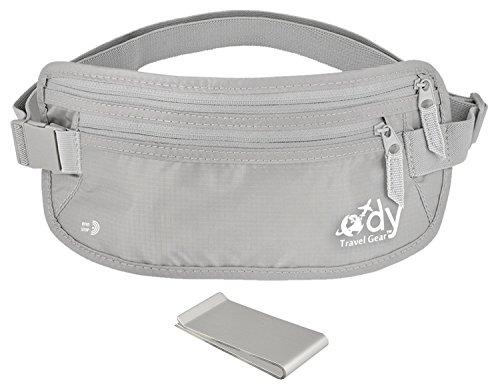 Ody Travel Gear Money Belt for Travel RFID Undercover Passport Holder - Secret Hidden Waist Pouch