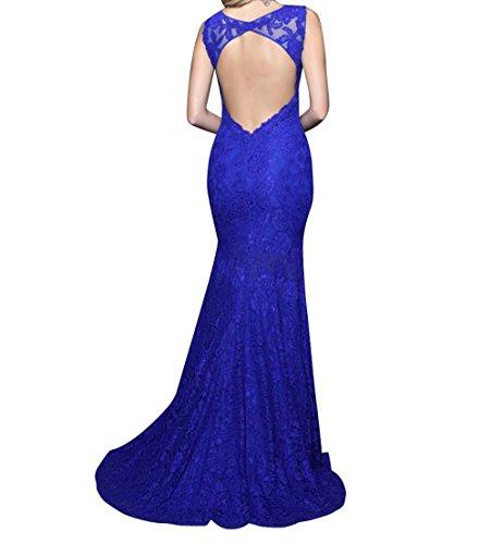 Jugendweihe Royal mia Rosa Braut Festlichkleider Lang Abendkleider Blau Meerjungfrau Kleider Spitze Abschlussballkleider La Promkleider fxYw164
