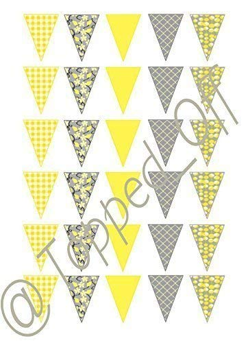 2088d2b03 Topped Off 30 Shabby Chic Vintage yellow   grey edible bunting on ...