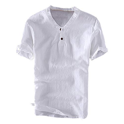 TENGGO Hombres Casual 100/% Algod/ón Vintage V-Neck Button Solid Short Manga Camisetas-Blanco 2XL