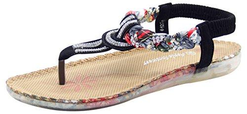 Toe Black Sandals Soft Back Post Mule Diamante Strap Ladies Casual dz7fqwxd