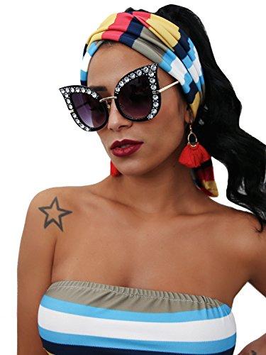 Glamaker Womens Fashion Oversized Cat Eye Mirrors Rhinestones Twin-Beams Sunglasses Shades,Black,One Size