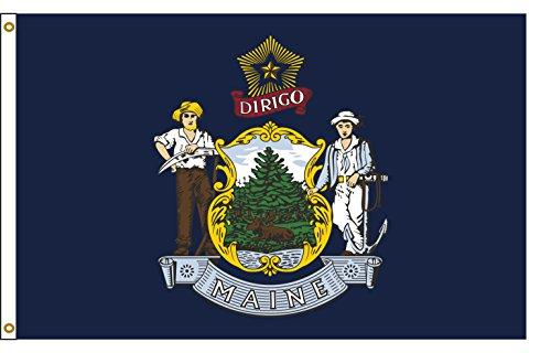 Maine 3ftx5ft Nylon State Flag 3x5 Made In USA - Maine Flag State Nylon