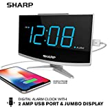Sharp LED Digital Alarm Clock- Simple Operation - Large Display with High/Low Brightness - FastCharge 2 Amp Power Port for USB - Modern Design with Bright Jumbo Blue Digit Display