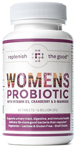 Bacteria Urinary Tract - Womens Probiotic 60ct, 6 Billion CFU with Cranberry, D-Mannose, Vitamin D3. Best Probiotics for Women, Delivers 15X More Good Bacteria. Yeast & Urinary Tract Infection UTI Treatment. 30 Day Supply