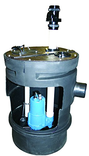 Barnes PitPro 25 by 24 inch Packaged Sewage Pump System - 1/2-HP, 4,300 GPH, For Residential & Commercial Use, Simplex Model 126920