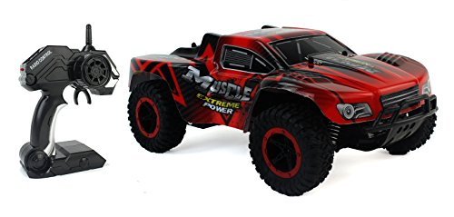 Cheetah King Remote Control Red Toy Rally Truck RC Car 2.4 GHz 1:16 Scale Size w/ Working Suspension, Spring Shock Absorbers