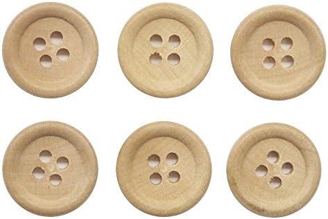 手芸のいとや ボタン 四つ穴 木ボタン つやなし ベージュ 15mm 10個セット 直径約15mm 厚さ約3mm