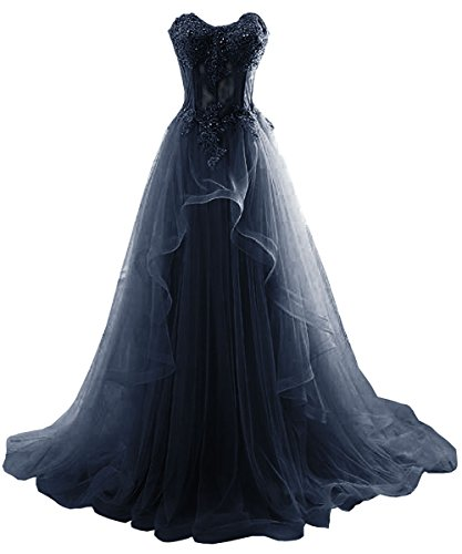 DYS Women's Sweetheart Prom Dress Lace Bridesmaid Evening Dress Applique Crystal Navy US 18Plus