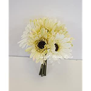 Sweet Home Deco 8'' Silk Artificial Gerbera Daisy Flower Bunch (W/ 7stems, 7 Flower Heads) Home/Wedding 24
