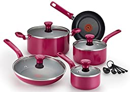 T-fal C513SE Excite Nonstick Thermo-Spot Dishwasher Safe Oven Safe PFOA Free Cookware Set, 14-Piece, Pink