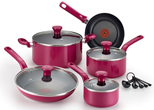 T-fal C513SE Excite Nonstick Thermo-Spot Dishwasher Safe Oven Safe PFOA Free Cookware Set, 14-Piece, Pink Aluminum Induction Box