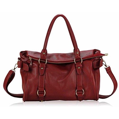 zarla Mujer Piel sintética Bolso de mano mujer Cruzado lazo bolso bandolera Rojo - Rojo
