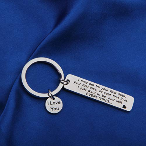 FEELMEM I May Not Be Your First Date Keychain Couples Love Lettering Keyring Valentines Day Birthday for Him or Her (Silver) by FEELMEM (Image #1)