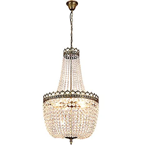 Lumos French Empire Antique Bronze 5 Light Crystal Chandelier Ceiling Pendant Lighting Fixture Lamp For Dining