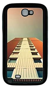 Samsung Galaxy Note II N7100 Case,White And Orange Building TPU Custom Samsung Galaxy Note II N7100 Case Cover Black