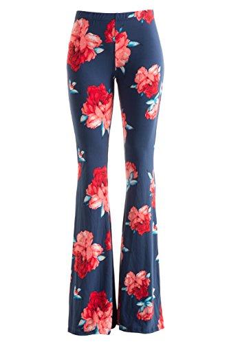 FASHIONOMICS Womens Boho Printed Bell Bottom Stretchy Long Pants (L, BH35)