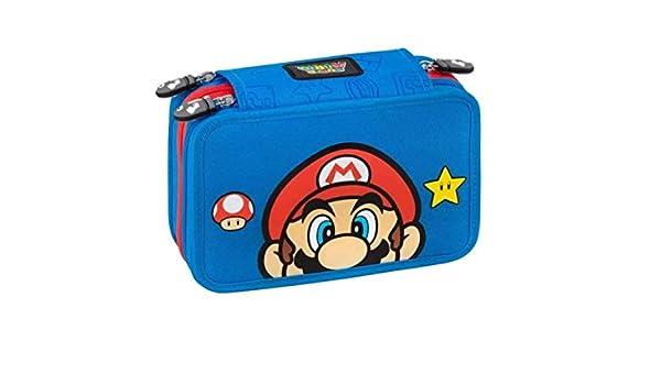 Estuche escolar Super Mario 3 pisos Zip completo 2020 + llavero silbato + bolígrafo con purpurina + marcapáginas de regalo: Amazon.es: Equipaje
