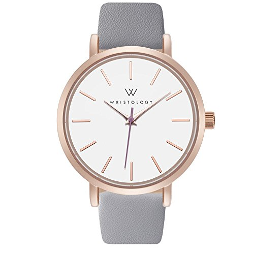 WRISTOLOGY Olivia Womens Lines Rose Gold Boyfriend Watch Gray Leather Band