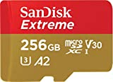 SanDisk 256GB Extreme microSDXC UHS-I Memory Card with Adapter - C10, U3, V30, 4K, A2, Micro SD - SDSQXA1-256G-GN6MA (Renewed)