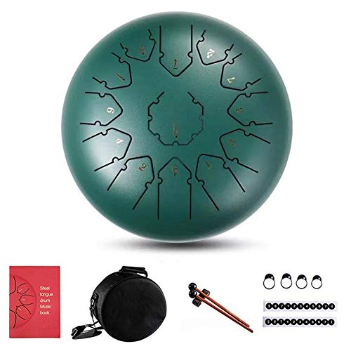 S WIDEN ELECTRIC Steel Tongue Drum 13 Notes 12 Inch, Empty Drum, Percussion Instrument, Lotus Hand Pan Drum with Bag, Finger Cover, Drumsticks