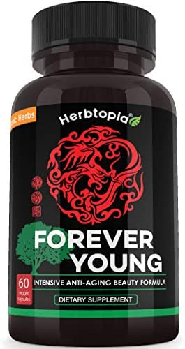 Forever Young Anti Aging Supplement for Longevity Immune System Boost with Organic Ginseng, Organic Codonopsis Dang Shen, Organic Astragalus Root, Organic Reishi Mushroom